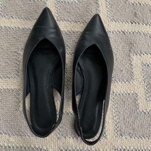 H&M leather black flat slingbacks size 38/8